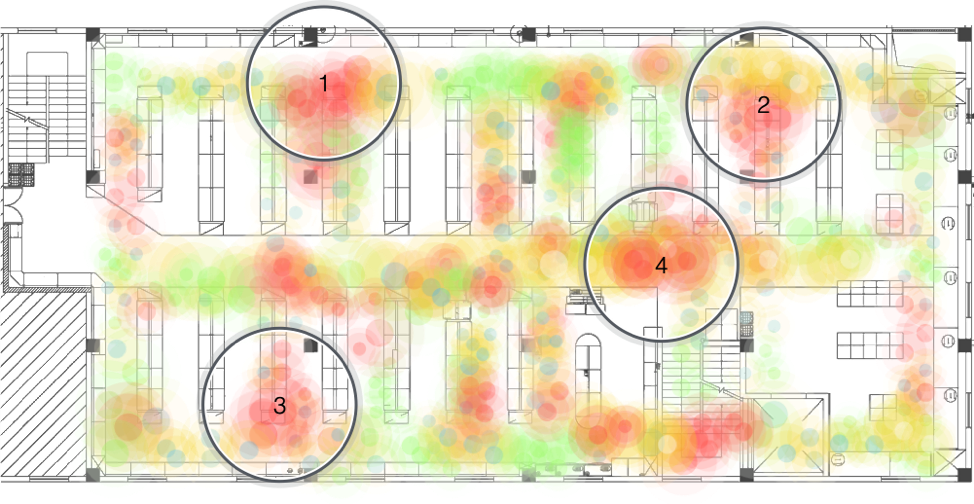 Store layout and traffic heat map. Circles represent alternative areas where the promotion might be located.