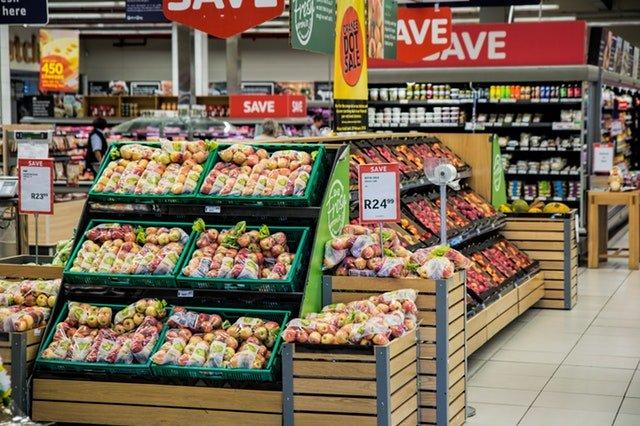 Fruits endcap in a supermarket
