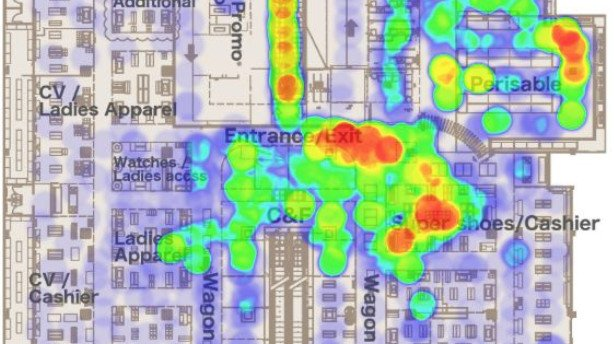 Hypermarket heatmap based on the foot traffic can be compared with aggregated sales