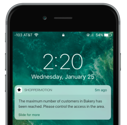 Push notification saying that the maximum number of customers in a section has been reached.